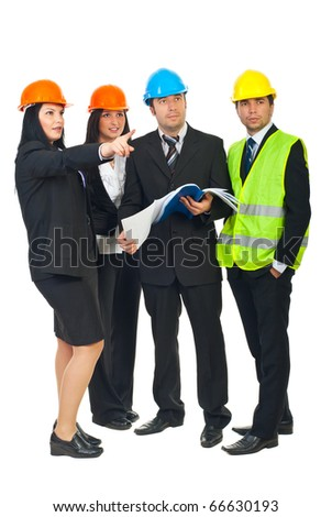 Full length of four constructors architects with blueprints pointing and looking up to a future contruction isolated on white background