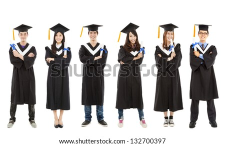full length of happy  young graduate students group