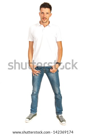 Full length of man in white t-shirt and jeans isolated on white background