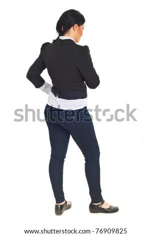 Full length of sad business woman thinking isolated on white background