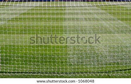Full length of the pitch from behind the Goal Nets