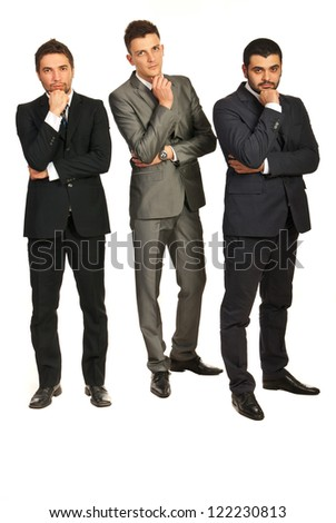 Full length of three business men with problems isolated on white background