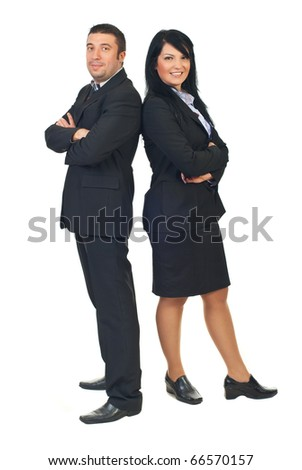 Full length of two mid adults executive people standing back to back and smiling isolated on white background - stock photo