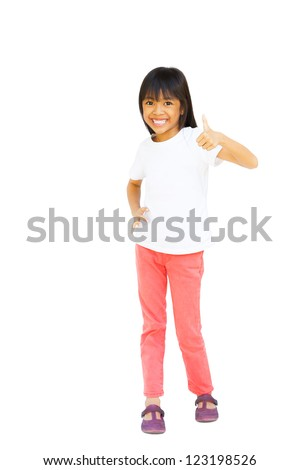 Full length of young asian girl showing thumbs up, Isolated over white with clipping path