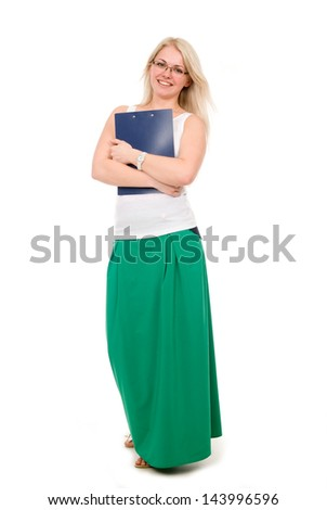 Full length of young blond holding clipboard over white background