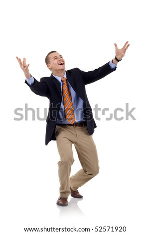 full length of young businessman shouting loudly with his arms widened