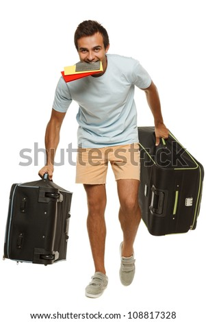 Full length of young male tourist hurrying to the flight holding tickets with passport in his teeth, isolated on white background