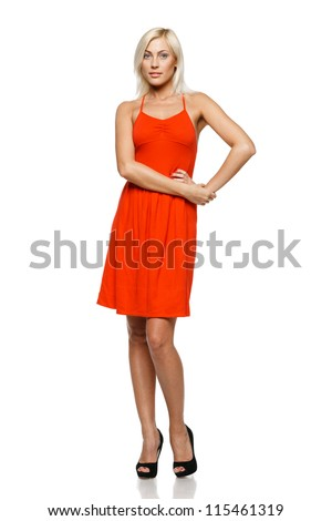Full length of young woman standing with her hand on hip against white background