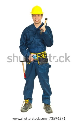 Full length of young worker man holding ax on his shoulder over white background