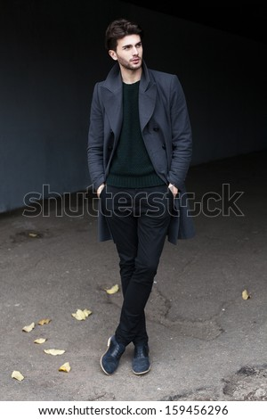 Full-length outdoor fashion male portrait