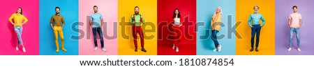 Full length photo collage amazing three ladies five guys hold hand pockets stylish youth cool wear multiple body view video call isolated different color pink red blue yellow purple background