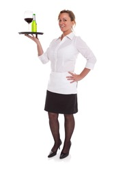 Full length photo of a waitress serving drinks on a tray, isolated on a white background.
