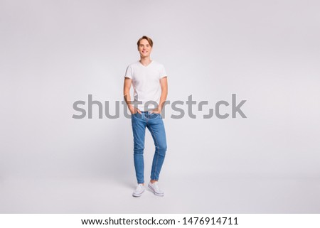 Full length photo of amazing guy hold hands pockets wear casual outfit isolated on white background #1476914711