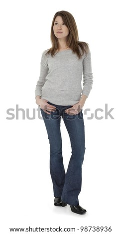 Full length photo of attractive 30 year old woman standing, isolated on white background.