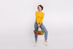 Full length photo of funny brunette young lady hold food look empty space wear shirt jeans isolated on grey color background