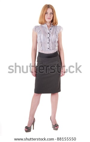 43e2341cd8d03f Full-length portrait beautiful lookind down young woman in blouse and skirt  on white #