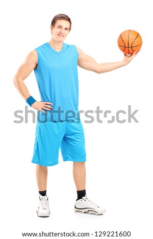 Full length portrait of a basketball player posing isolated on white background