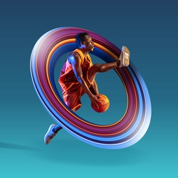 Full length portrait of a basketball player with a ball isolated on blue studio background. Fit african american athlete. Motion, activity, movement, advertising concept. Abstract design.
