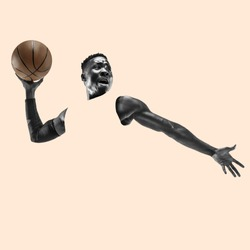 Full length portrait of a basketball player with a ball isolated on studio background. Fit african american athlete. Motion, activity, movement, advertising concept. Abstract design.