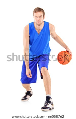 Full length portrait of a basketball player with basketball isolated on white background