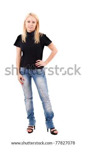 Full length portrait of a beautiful young girl