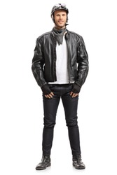 Full length portrait of a biker isolated on white background