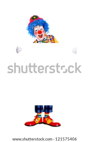 Full length portrait  of a birthday clown holding the blank board