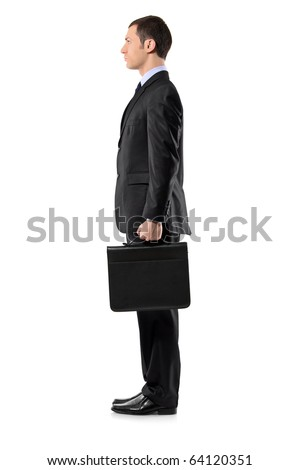 Full length portrait of a businessman holding a leather briefcase waiting in line isolated against white background