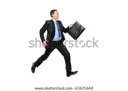 Full length portrait of a businessman running away against white background