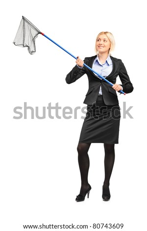 Full length portrait of a businesswoman with an empty fishing net isolated on white background
