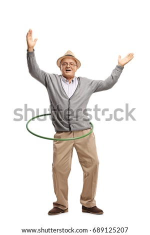 Full length portrait of a cheerful mature man with a hula hoop isolated on white background