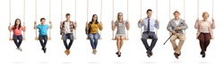 Full length portrait of a children, young people and seniors sitting om swings and smiling isolated on white background