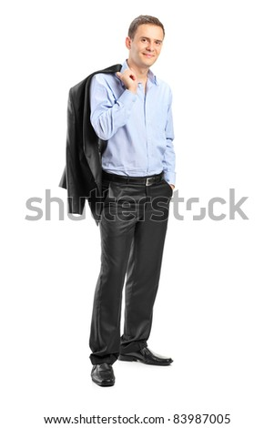 Full length portrait of a confident man looking at camera isolated on white background