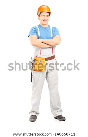 Full length portrait of a confident repairman in a uniform, isolated on white background