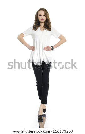 Full length portrait of a confident young female posing