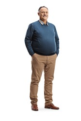 Full length portrait of a corpulent mature man posing isolated on white background