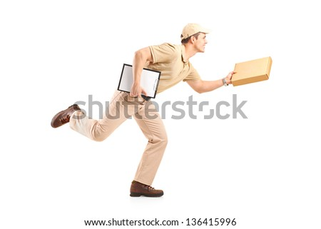 Full length portrait of a delivery boy in a rush delivering a package isolated against white background