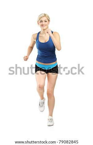 Full length portrait of a female runner isolated on white background