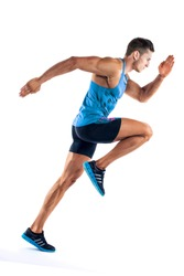 Full length portrait of a fitness man running isolated on a white background