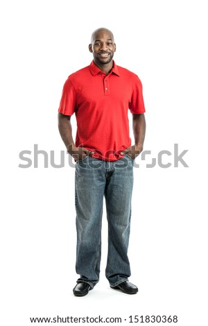 Full length portrait of a handsome African American man isolated on white background
