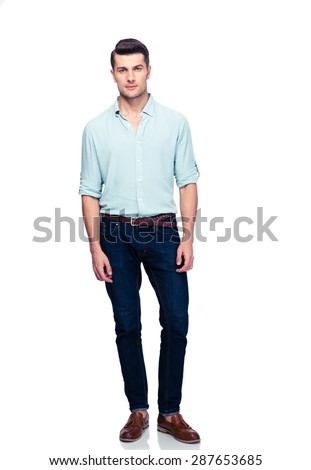 Full length portrait of a handsome man isolated on a white background. Looking at camera #287653685