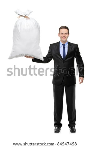 Full length portrait of a happy businessman holding a money bag isolated on white background