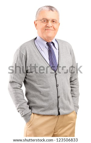 Full length portrait of a happy gentleman posing isolated on white background