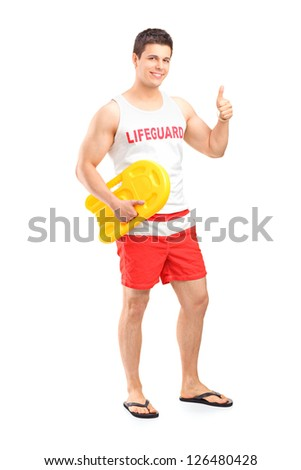 Full length portrait of a happy lifeguard on duty giving a thumb up isolated on white background
