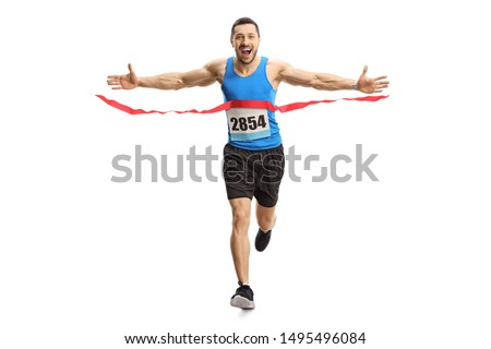 Full length portrait of a happy young man finishing a marathon race on the finish line isolated on white background Stock fotó ©