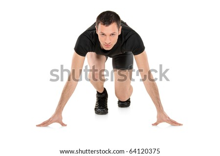 Full length portrait of a male athlete ready to run, looking down, isolated on white background