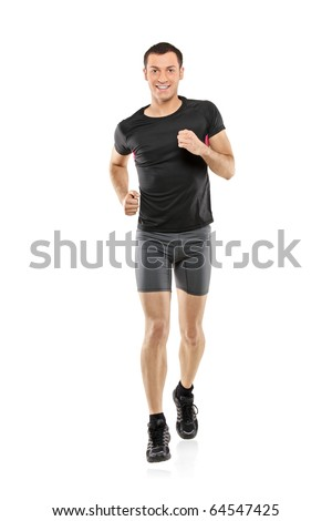 Full length portrait of a male athlete running isolated on white background