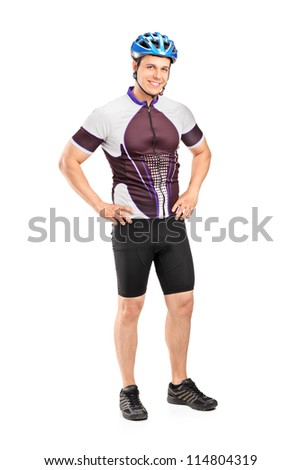 Full length portrait of a male biker wearing helmet and posing isolated on white background