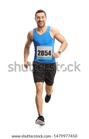 Full length portrait of a male runner on a marathon isolated on white background Photo stock ©