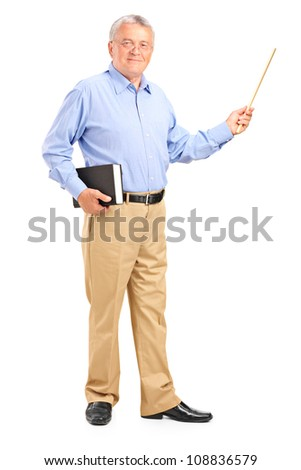 Full length portrait of a male teacher holding a wand and book isolated on white background